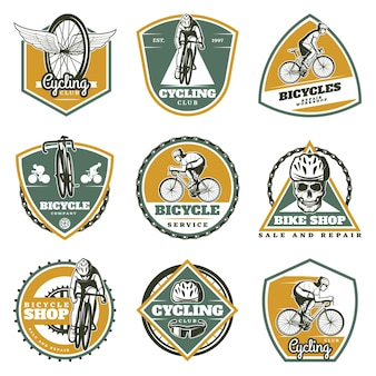 Colored vintage biking labels set