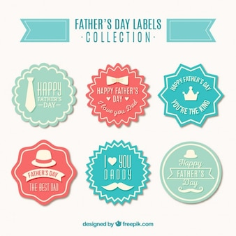 Colored vintage father's day badges