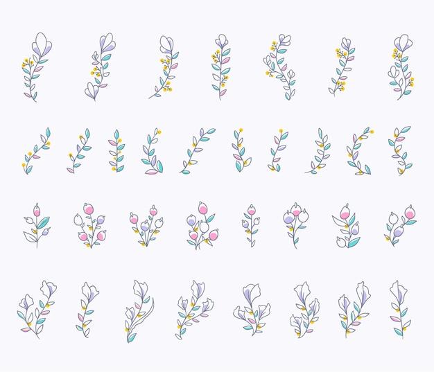 컬러 빈티지 손으로 그린 꽃 그림 세트