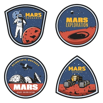 Colored vintage mars research emblems set with astronaut