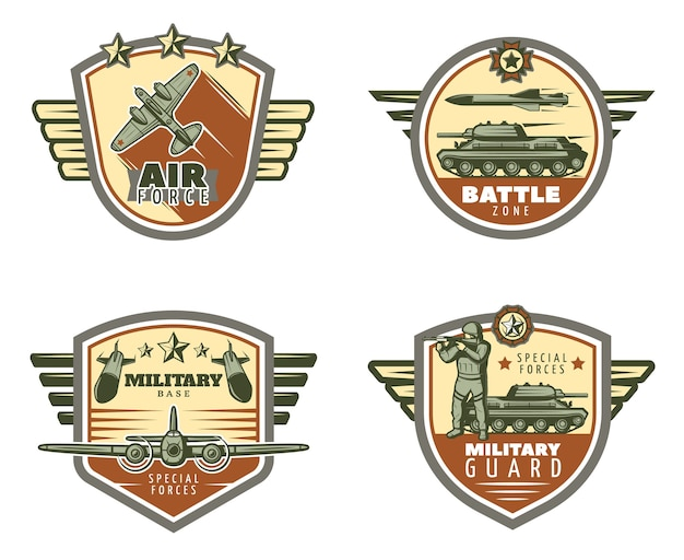 Set di emblemi militari d'epoca colorati