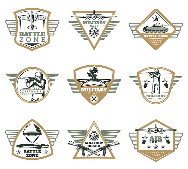 Colored vintage military emblems set