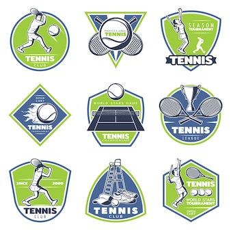 Colored vintage tennis emblems set