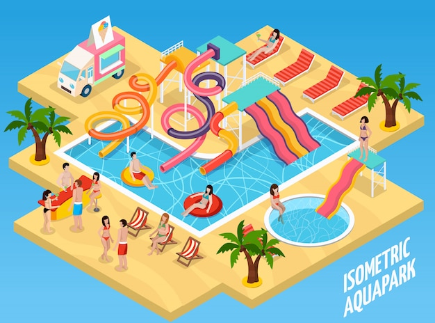 Colored water park aquapark isometric composition