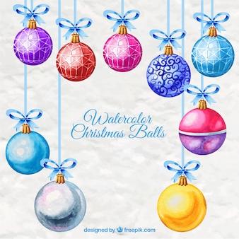 Colored watercolor christmas balls