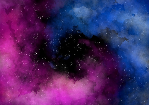 Colored watercolor spiral nebula galaxy background
