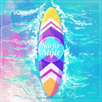 Colored watercolor surfboard in the sea
