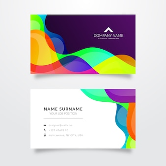 Colored waves template for business card