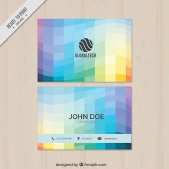 Quadrati colorati ondulati biglietto da visita
