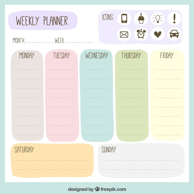 graphic regarding Free Weekly Planner titled Weekly Planner Vectors, Shots and PSD data files Free of charge Obtain