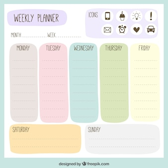 Colored weekly planner