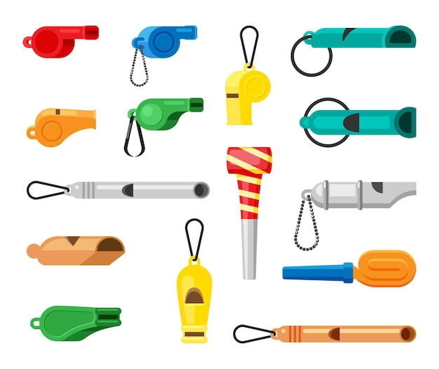 Набор цветных свистков.