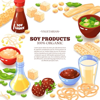 Colored  with decorative frame composed of soy products  and inside text information about vegetarian food  cartoon