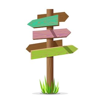 색된 나무 화살표 빈 간판입니다. 잔디와 나무 로그인 게시물 개념입니다. 흰색 배경에 고립 된 보드 포인터 그림