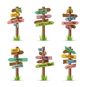 Colored wooden arrow signboards resort set