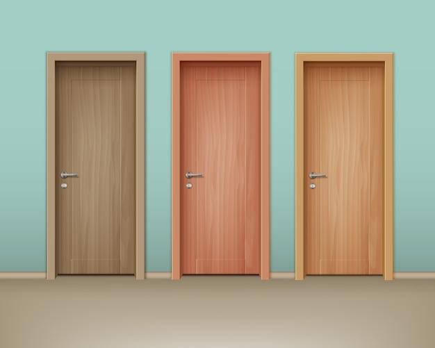 민트 색상의 벽에 에코 미니멀리즘 스타일의 컬러 나무 문