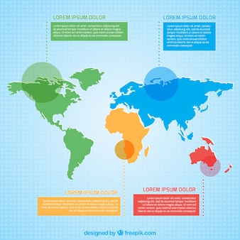 Colored world map infographic