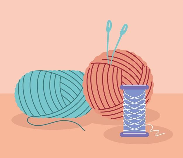 Colored yarn balls