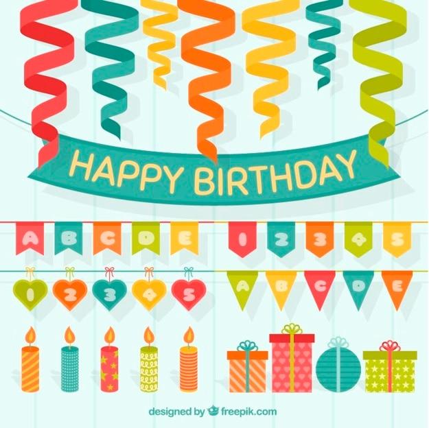 誕生日の装飾のセットでcoloresストリーマ