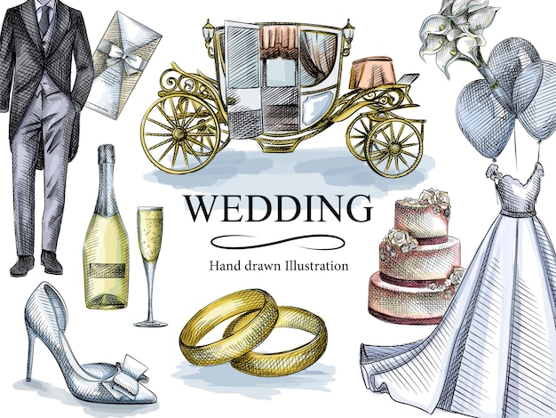結婚式セットの水彩colorfuスケッチ。セットには、ウェディングドレス、タキシード、婚約指輪、招待状、3層のウェディングケーキ、シャンパンとグラス、馬車、ブートニア、ウェディングシューズが含まれています