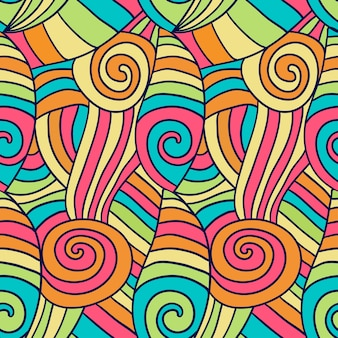 Colorfu abstract waves pattern. hand drawn spiral wavy background. vector ethnic coloring texture.
