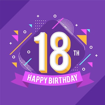 Colorful 18th birthday background
