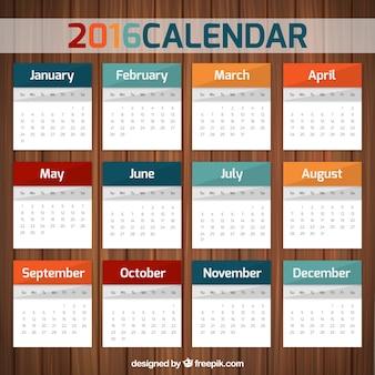 Красочный шаблон календаря 2016