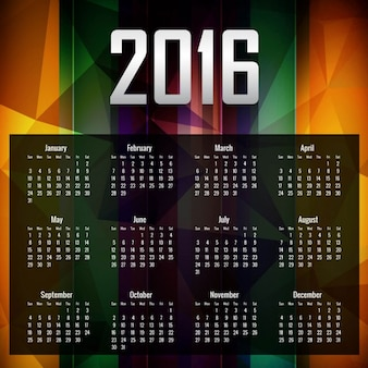 Colorful 2016 calender in polygonal style