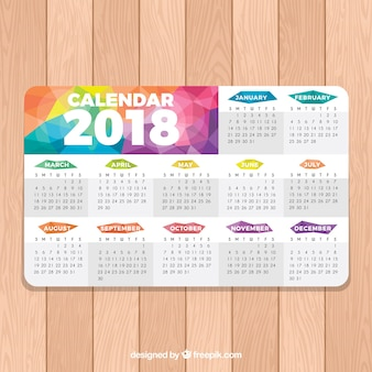 Colorful 2018 calendar