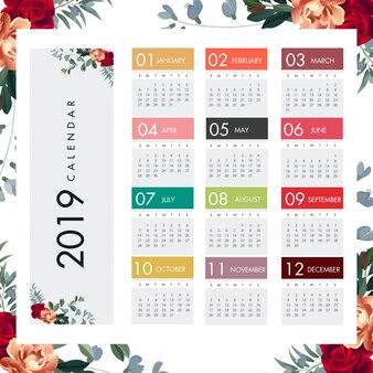Colorful 2019 calendar floral design