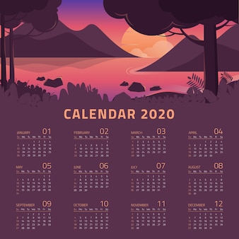 Colorful 2020 calendar template with beautiful landscape