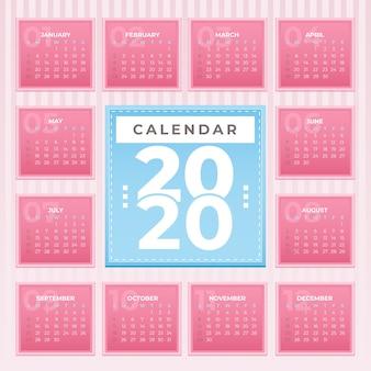 Красочный шаблон календаря 2020
