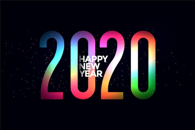 Colorful 2020 glowing happy new year