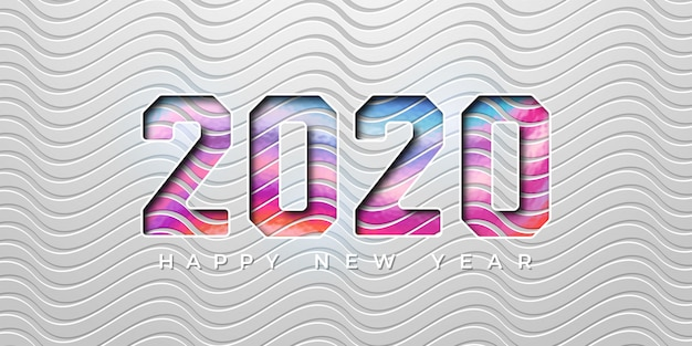 Colorful 2020 new year in 3d style. 2020 new year greeting card