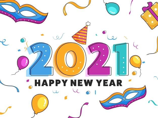 Красочный номер 2021 года с украшенными элементами вечеринки или торжества