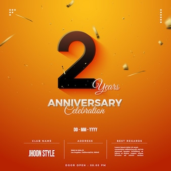 Colorful 2nd anniversary party invitation