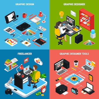 Colorful 2x2 concept with graphic design illustrator or designer and various tools for work 3d isometric isolated vector illustration