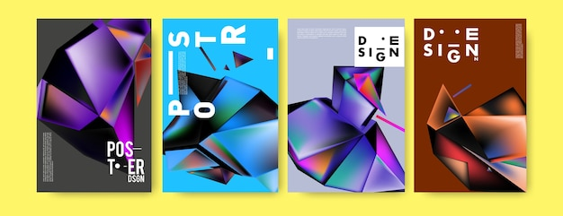 Colorful 3d abstract geometric triangle poster