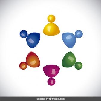 Colorful avatar 3d in forma circolare