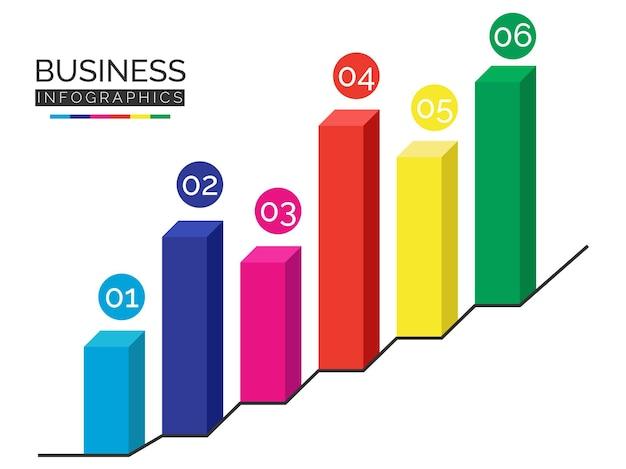 다채로운 3d 막대 infographic 벡터