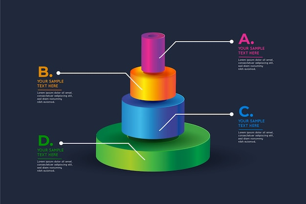 Colorful 3d bars infographic