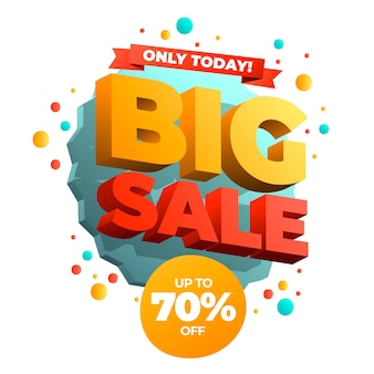 Colorful 3d big sale banner