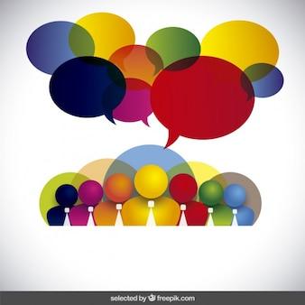 Colorful 3d avatar affari con palloncini di discorso