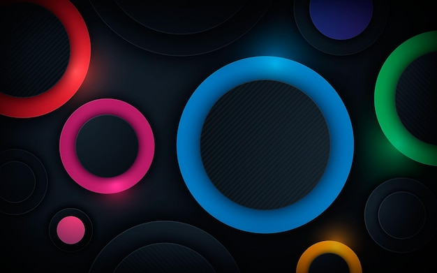Colorful 3d circle shape dimension layers background