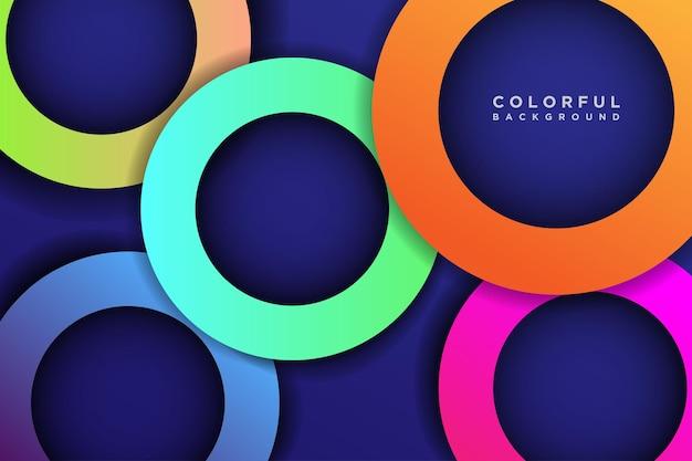 カラフルな3d円形状オーバーラップレイヤー背景と影