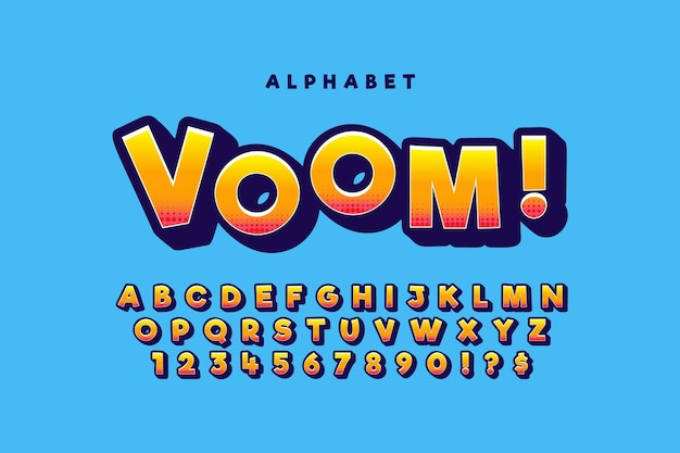 Colorful 3d comic alphabet concept