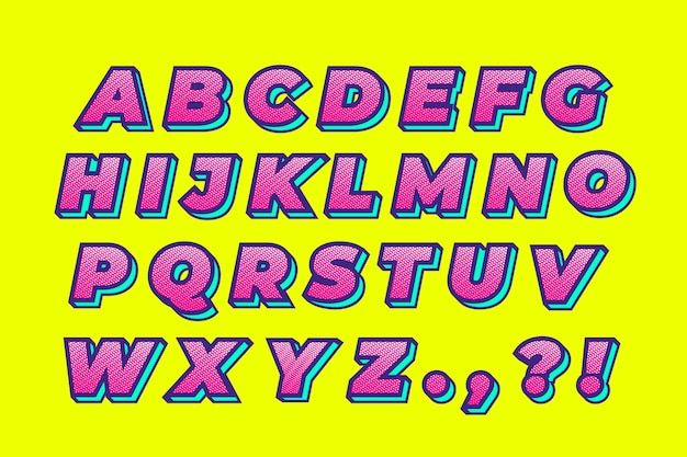 Colorful 3d comic alphabet