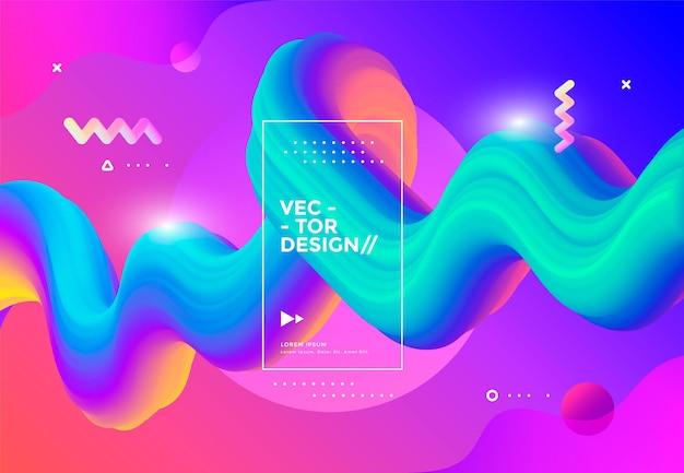 Красочные 3d формы потока жидкая волна современный фон