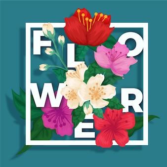 글자와 종이 스타일에 화려한 3d 꽃