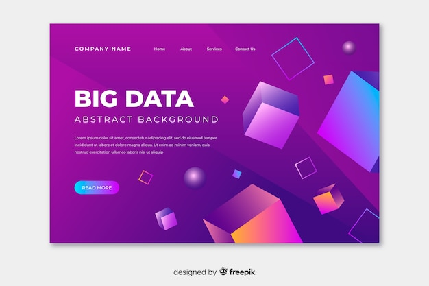 Colorful 3d geometric landing page